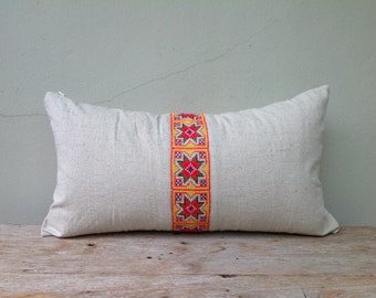 "Ethnic Hmong Embroidered Organic Hemp Eco Friendly Pillow Case 12"" x 22""  Pieces Of Tribal Costume"