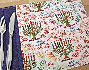 Quilted Placemats, Hanukkah Placemats, Menorah Placemats, Hanukkah Decor, Menorahs