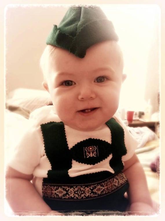 Traditional Green Baby Lederhosen Onesie Lederhosen Baby