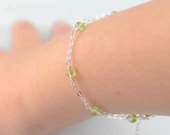 Peridot Bracelet, Genuine Lime Green Gemstone, August Birthstone Jewelry, Sterling Silver Chain, Adjustable Length