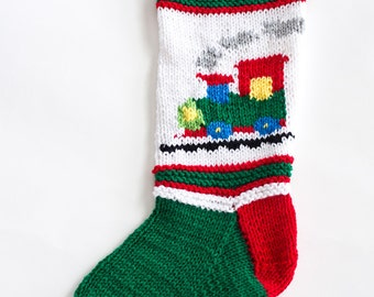 Knit Green Train Christmas Stocking - Personalized