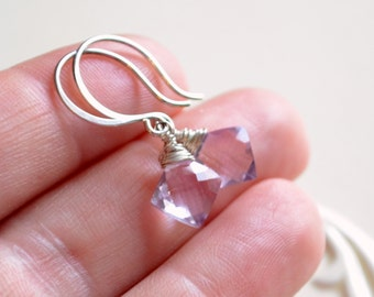Pink Amethyst Earrings, Drop, Wire Wrapped Diamond Cut, Lilac Lavender, AAA Gemstones, Sterling Silver Jewelry, Free Shipping