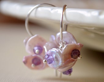 Lavender Earrings, Keishi Pearl with Amethyst Gemstones, Lilac Flower Blossom, Wire Wrapped, Sterling Silver Jewelry, Free Shipping