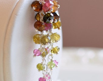 Tourmaline Jewelry, Sterling Silver or Gold, Waterfall Earrings, Long Gemstone Cluster, Multicolor Pink Green Brown, Free Shipping