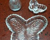 Vintage Crystal Butterfly Dresser Set of 3 Perfume Bottle Trinket Dish and Ring Holder