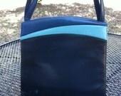 Vintage Blue Color Block Pocketbook Purse Vegan No Leather