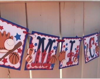 Handmade Banner - Custom made - GO GREEN - Name Banner Happy Birthday Baby Shower Sports Football Basketball Baseball Soccer Banner