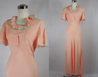 1930s pink and blue long day dress