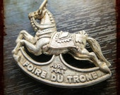 Vintage French 3D Carousel horse Silver Medal - Merry Go Round Equestrian relief Jewelry pendant from France