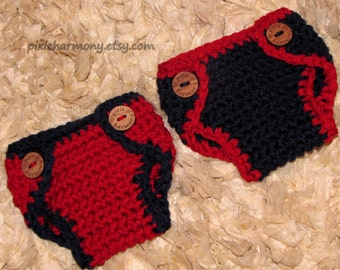 Twin Baby Boy DIAPER Covers - Navy Blue and Red - Newborn Photo Prop - Made to ORDER- ANY Color - Reborn Doll