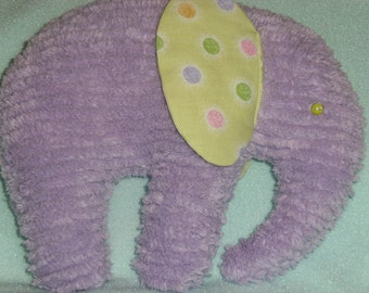 Stuffed Elephant, Lavender Chenille, ears are Lime green with multi colored dots