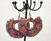 "Crochet Ethnic creole earrings - Hand-dyed cotton & Toho beads - mauve/honey - ""Crochet Ethnic Chic"" collection - Handmade in France"