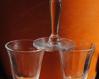 Vintage Set of 3 Fluted Crystal Clear Cordial Glasses