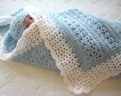 A custom baby blanket for Lauren,  Crochet Baby Blanket gray with White Border
