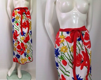 Vintage 1970s Vera Neumann skirt wrap floral red yellow Spring Easter small
