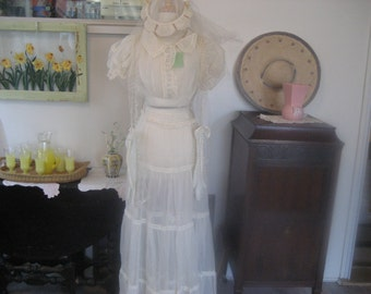 1920-1930 Wedding Dress, Veil, Scarf, and Gloves