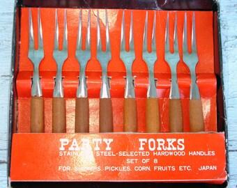SALE 1960s Pickle Forks Set of 8