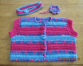 Toddler girls sweater/vest, headband, flower set - 2t - 4t