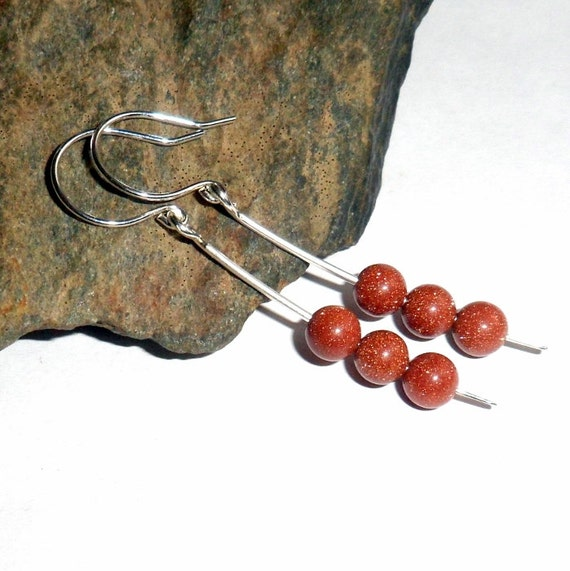 Goldstone Gemstone Earrings Sterling Silver Dangle Drop earthegy