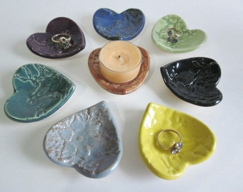 Heart ring dish Ring holder Country colors