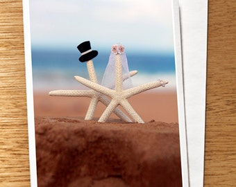 Starfish Wedding CARD, Starfish Wedding Card, Beach Wedding Card, Starfish Bride and Groom Card, Quirky Wedding Card, Cute Wedding Card