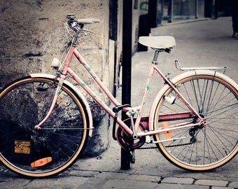 PARIS Bicycle Photography, Pink Bicycle in Paris Photo, Pink Cycle, Parisian Bicycle Photo, Bike in Europe Paris Photography, French Bicycle