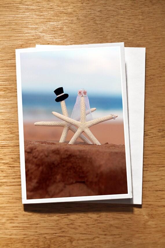 Starfish Wedding CARD, Starfish Wedding Card, Beach Wedding Card, Starfish Bride and Groom Card, Quirky Wedding Card, Cute Wedding Card