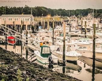 Sandwich CAPE Cod Marina in MASSACHUSETTS Art Colorful Travel Photography Beach Cottage Nautical Decor Boats