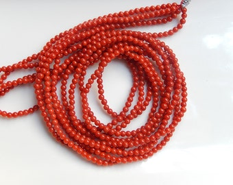 3mm Red  Coral round beads , full strand