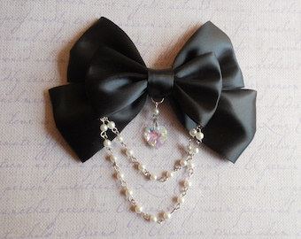 Gothic Lolita Hair clip or Brooch black bow with glass heart and white beads