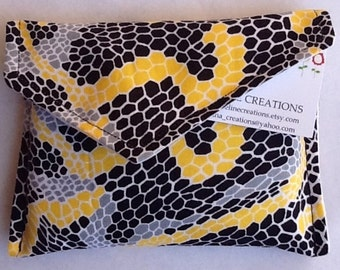 Night And Day Snake Skin In Yellow Sanitary Napkin Pad Bag Pouch Holder