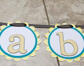 Owl Themed Birthday or Shower Banner- 11 characters and 3 owls- teal yellow grey chevron