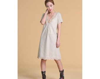 Air of Simplicity Summer Dress with Cotton Lace/ Any Size/ 14 Colors/ RAMIES
