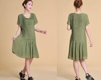 Elegant Full Pleated Silk Sundress with Short Sleeves/ 20 Colors/ RAMIES
