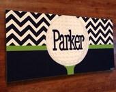 personalized custom canvas to match your child's decor- striped nursery art- boy - navy blue  chevron- golf
