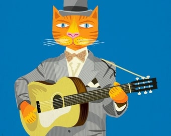 Tibbles Plays Acoustic - Humorous Cat / Guitar - Dark Blue - Limited Edition - Animal Art Print by Oliver Lake - iOTA iLLUSTRATION