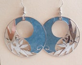 Blue Bamboo Round Enameled French Wire Earrings Vintage Estate