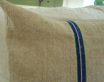 Vintage Grain Sack Pillow Cover European Hemp Blue Stripe