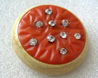 Vintage 1930s art deco celluloid sparkling pin brooch