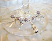 Wine Lover Gift, Wine Accessories, Wine Themed Glass Charms - Set of 5