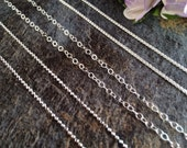 Necklace Chains, Replacement Chains, Sterling Silver Chains, Ball Chain, Loop Chain, Necklaces, Sterling SIlver