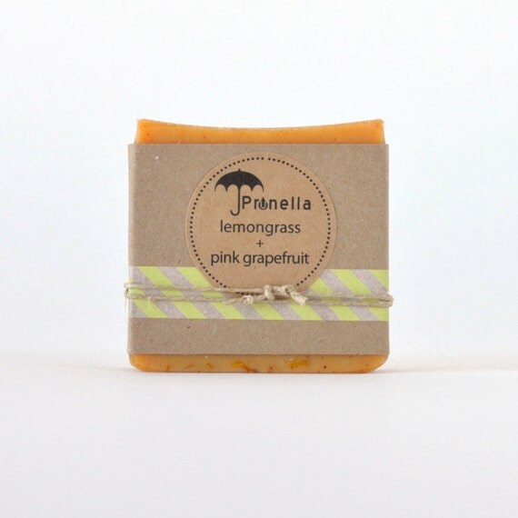 SUMMER SALE Lemongrass Pink Grapefruit Handmade Soap - 5 oz. bar