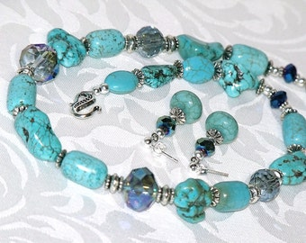 Turquoise and Silver Necklace and Earrings - stone nuggets gray crystals turquoise beaded indie jewelry