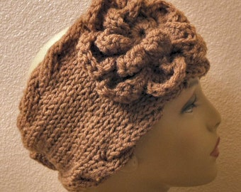 Hand Knit soft Acrylic Cafe Mocha Cable Edged Button Back Headband - Headwrap with X Large Crochet Flower