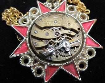 Industrial Sunburst Watch Movement Necklace Pendant P 50