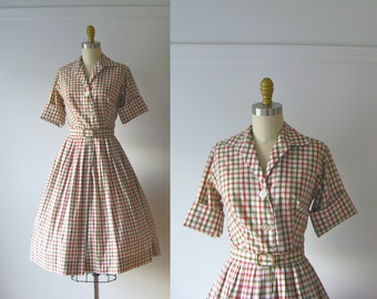 vintage 1950s dress / 50s dress / Saturday Stripes