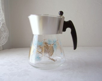 vintage mid century coffee carafe - douglas flameproof glass coffee pot - 1950s - 1960s - pine cone pitcher