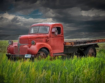 Red Dodge Truck with flatbed on the Prairie in Wyoming An Auto Fine Art Landscape Photograph