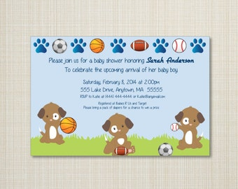 Sports Puppies Baby Shower Invitation - You Print