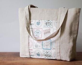 Travel bag. Beach bag. Eco linen handmade bag with pockets. Gift. Shoulder bag. Shopping bag.Tote bag.Linen handbag.Weekender bag.Diaper bag